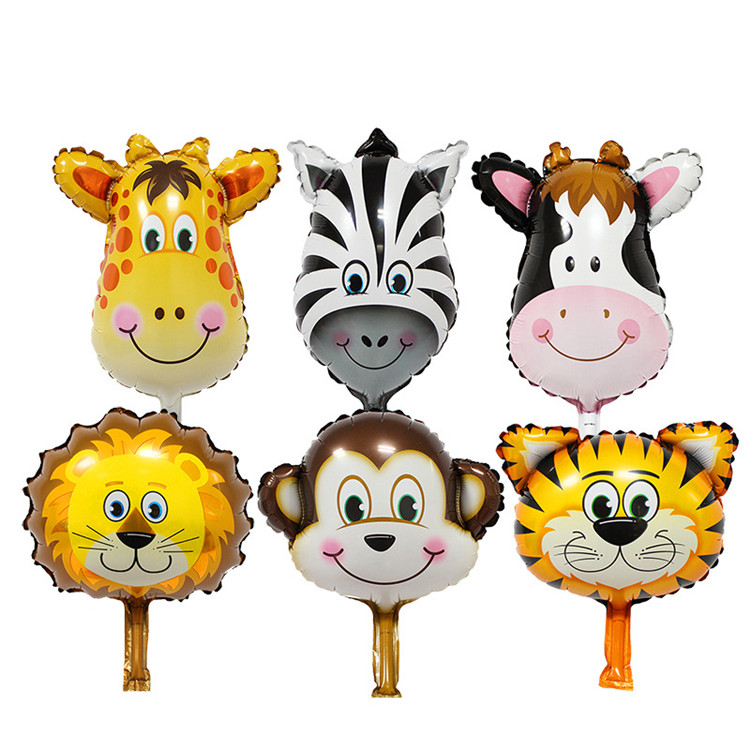 Best quality Small Animal Head Mini Foil Balloons Cow Monkey Giraffe Lion Tiger Zebra Zoon Helium Mylar Balloon With Price