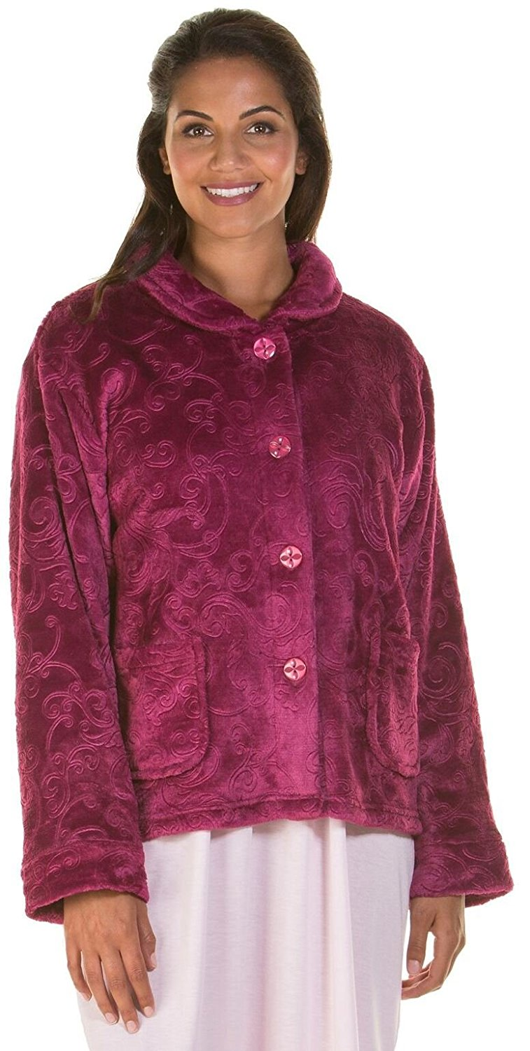 f9ade3d4f2 Get Quotations · Lady Olga Soft Feel Embossed Fleece Zip Gown