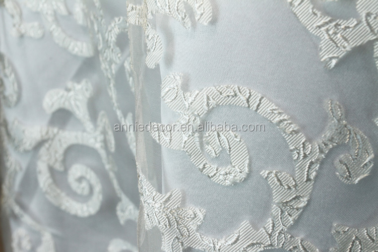 Fancy 120 White Round Organza Embroidered Tablecloth