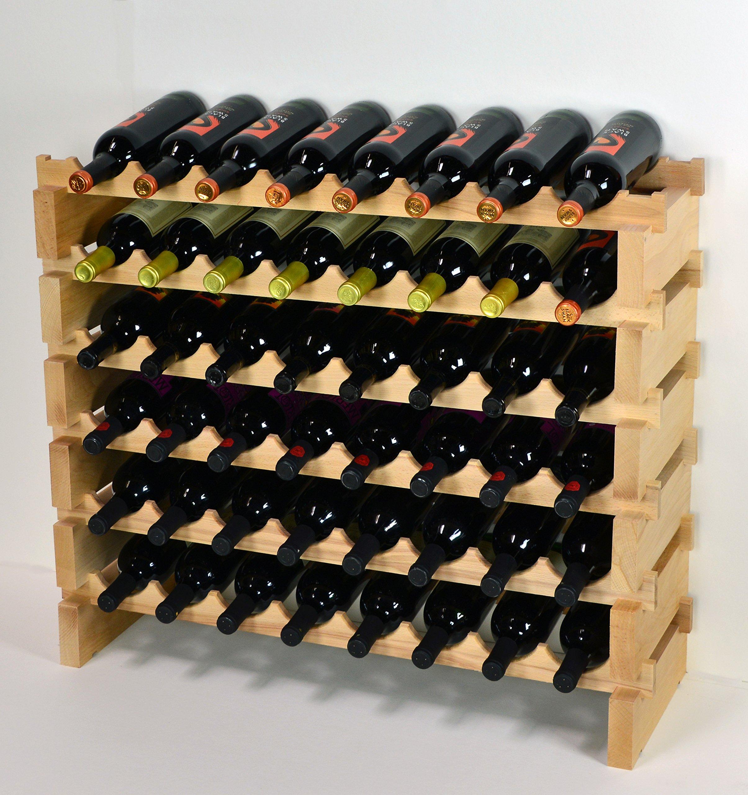 Get Quotations · Wine Rack Wood  48 Bottles Modular Hardwood Wine Racks (8  Bottles X 6 Shelves