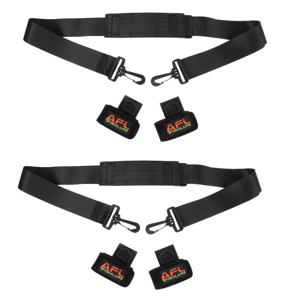 Dovewill 2 Pieces Fishing Shoulder Carry Strap Fishing Rod Gear Trackle Straps Black Adjustable