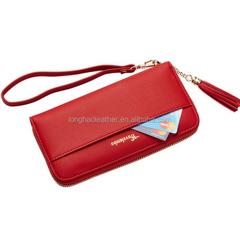Women Clutch Wallet Large Zip-Around Bifold Wallets With Card Holder Leather Cell Phone Purse Removable Wristlet Strap