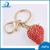 Promotional high quality custom shaped metal jewel rhinestone 3D red strawberry keychain