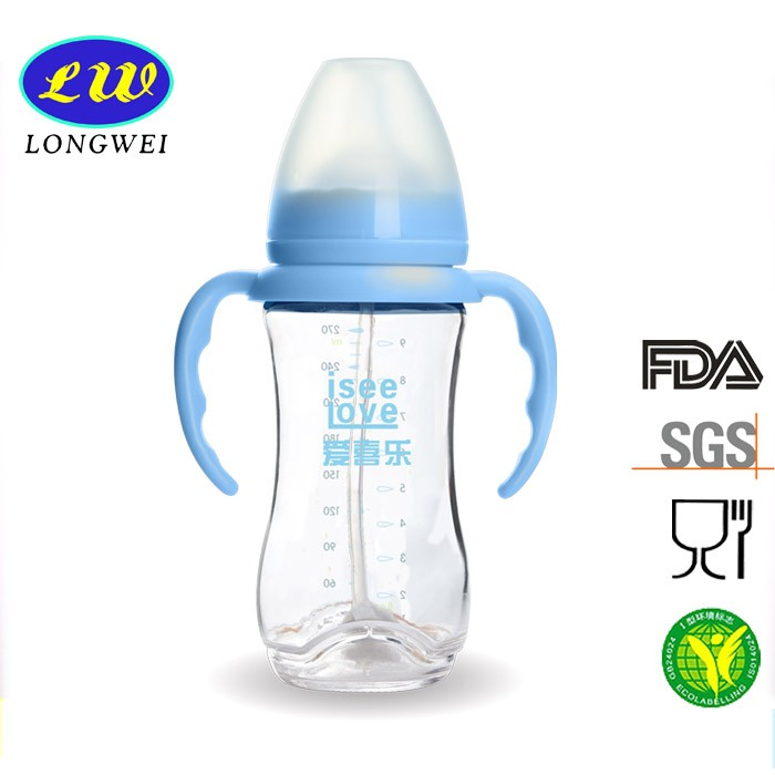 Wholesale BPA free 100% food grade custom-made wide neck best glass baby feeder feeding bottles for baby with handle