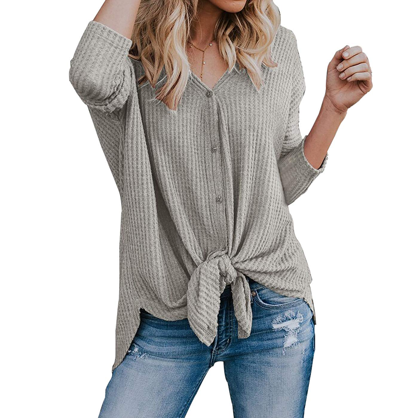 d782ecb74 Get Quotations · Women's Waffle Knit Fashion Tunic Blouse, Tie Knot Henley  Tops, Loose Fitting Bat Wing