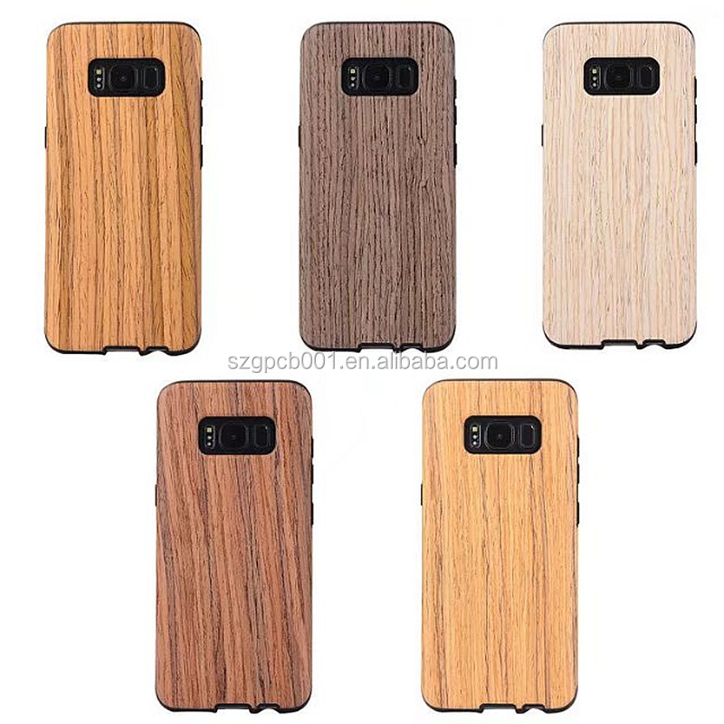 Original GVC s8 phone case real wood design with bumper tpu back covers for samsung galaxy s8 plus wooden case S8/S8+