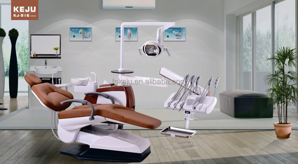 dental equipment kj-916 dental chair with luxury top-mounted tool