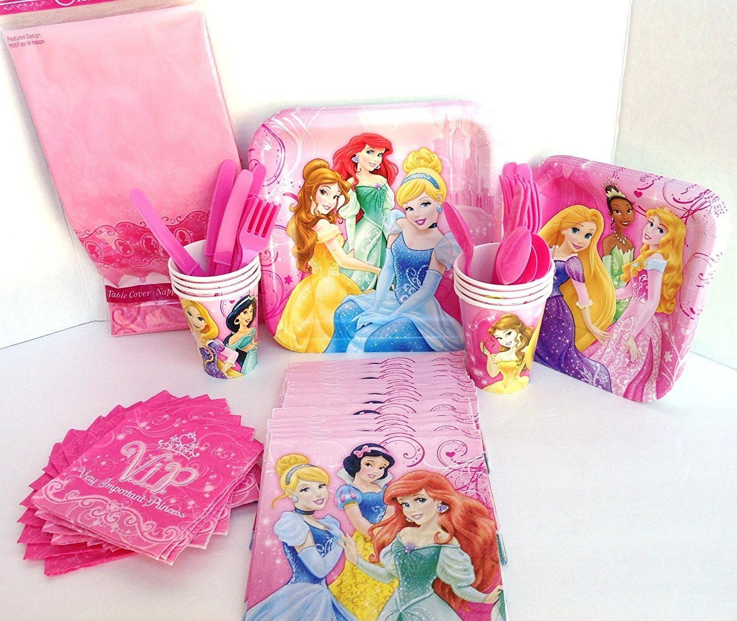 Disney Princess Deluxe Party Supply Pack- Dinner & Dessert Plates, Cups, Napkins, Table Cover, & Cutlery for 8 Guests