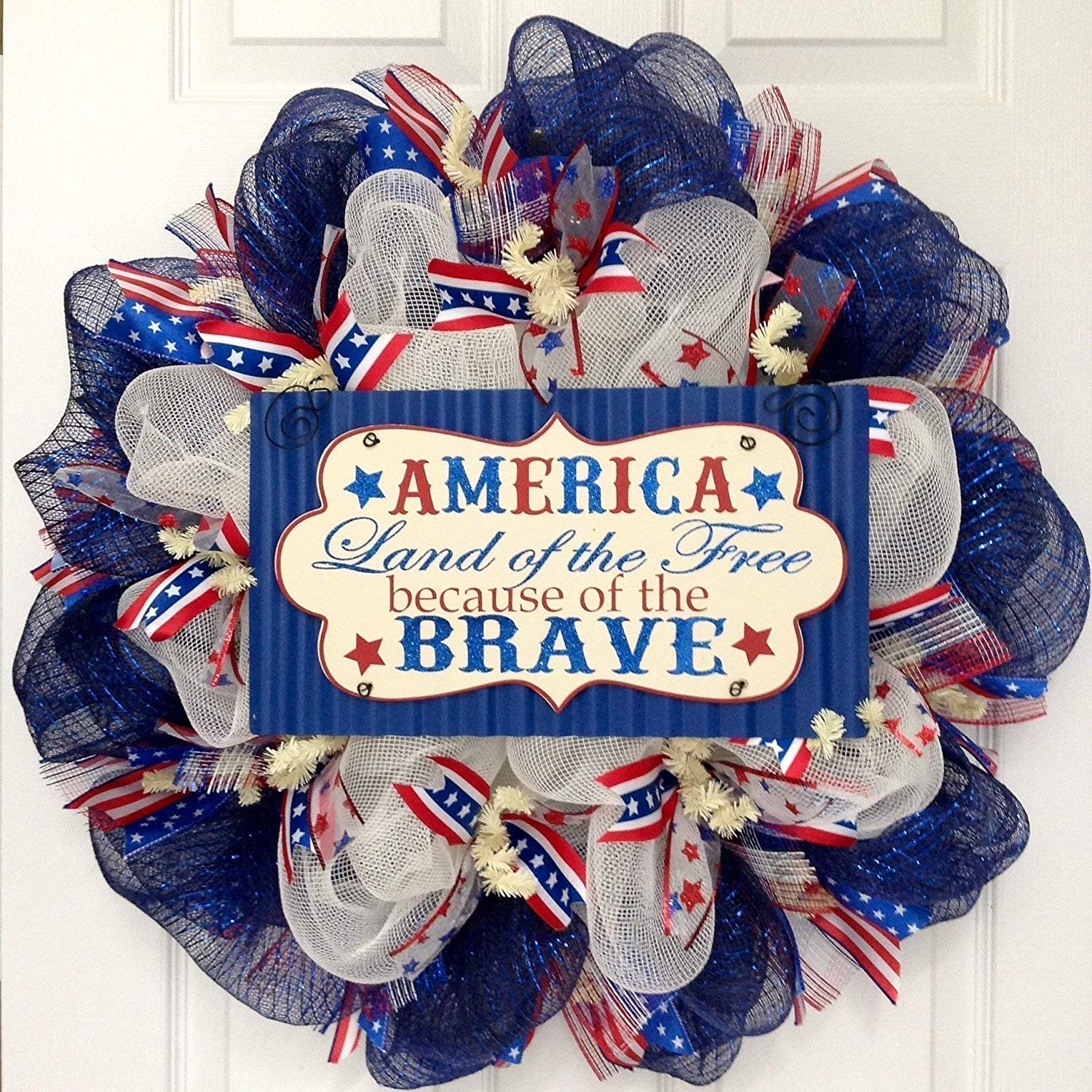 America Land of the Free Because of the Brave Patriotic Handmade Deco Mesh Wreath