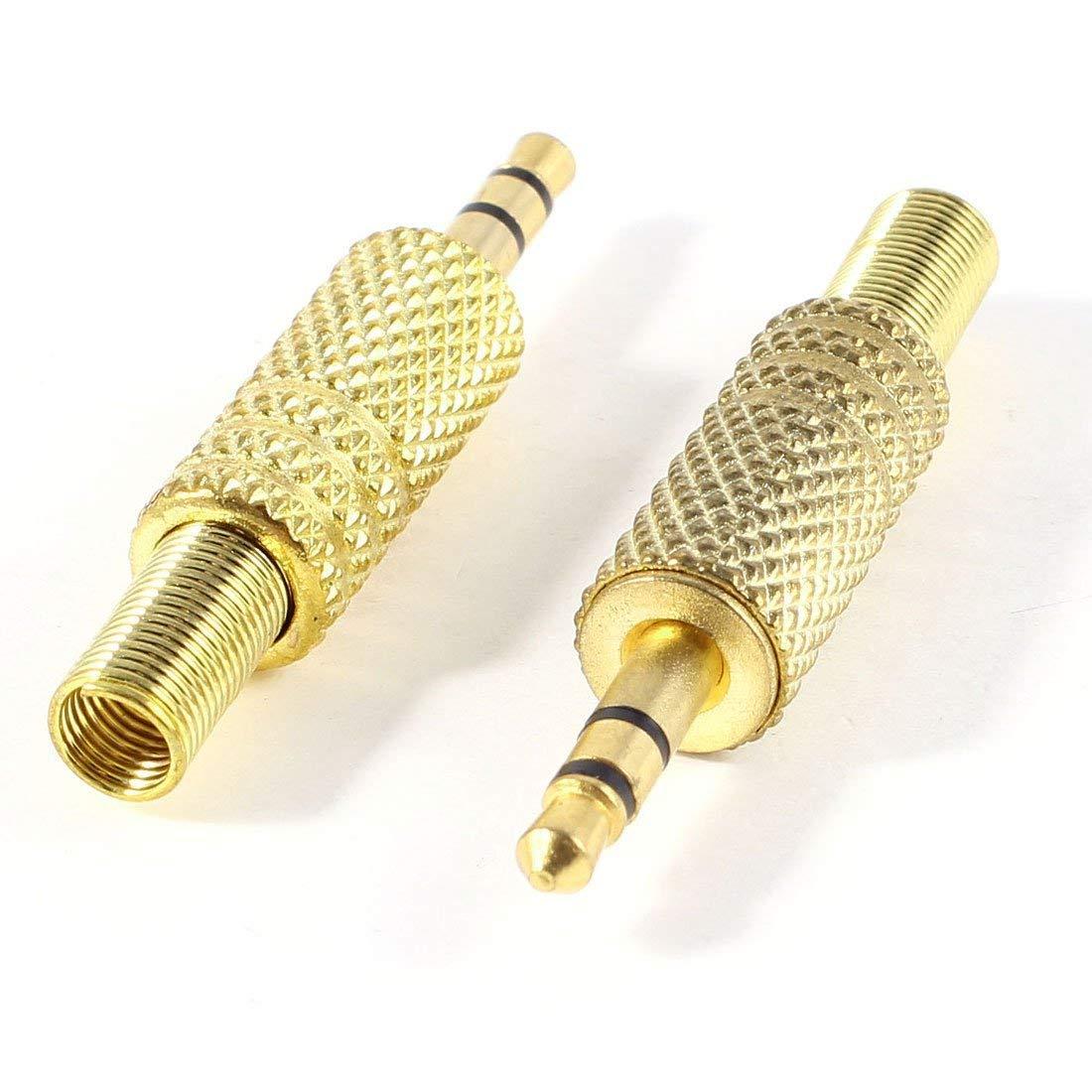 "SODIAL(R) 2 Pcs Gold Tone Alloy 3.5mm 1/8"" Male Jack Plug Coax Cable Audio Connector"