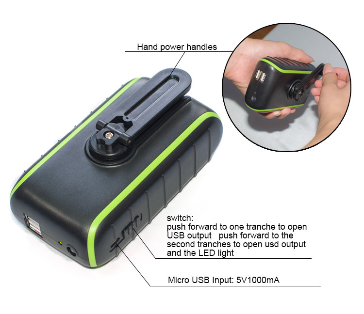 New Dynamo Hand Crank Cellphone Charger Hand Crank USB Solar Cell Phone Emergency Charger