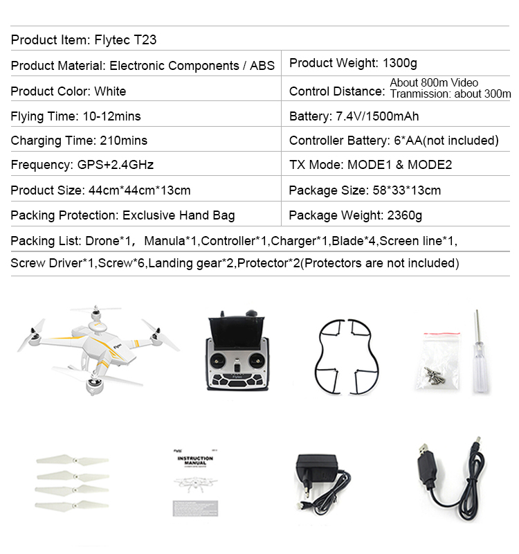 Flytec T23 5.8G FPV professional Drone with GPS Auto Follow 1080P camera Drone Quadcopter Brushless Motor RC Drone