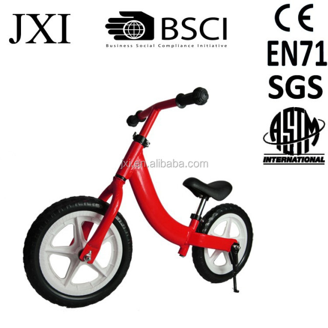 2015 new red color low middle frame mini saddle plastic rim air tire kids balance bike kids bike for 3 5 years old
