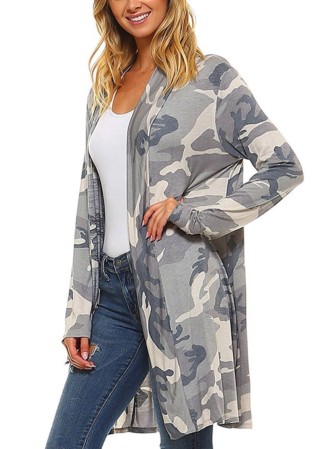 Pxmoda Womens Casual Long Sleeve Boho Floral Print Cardigan Warm Wrap Kimono Outwear