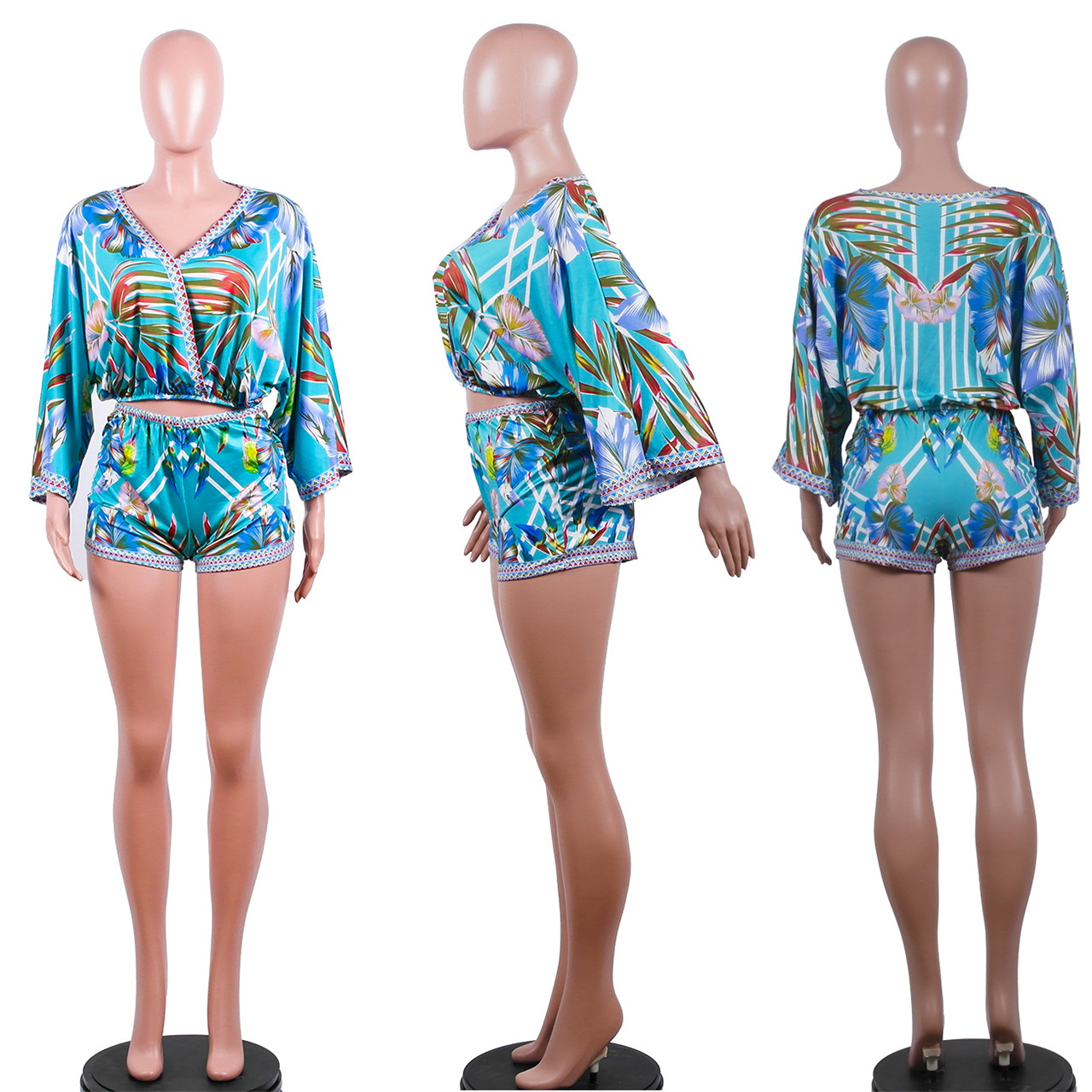 9040121 boutique outfits fashion bohemian printed top and shorts two piece set