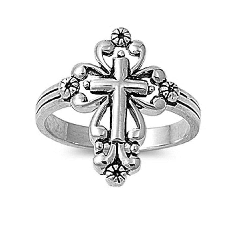 CloseoutWarehouse Filigree Cross Fusion Ring Sterling Silver 925