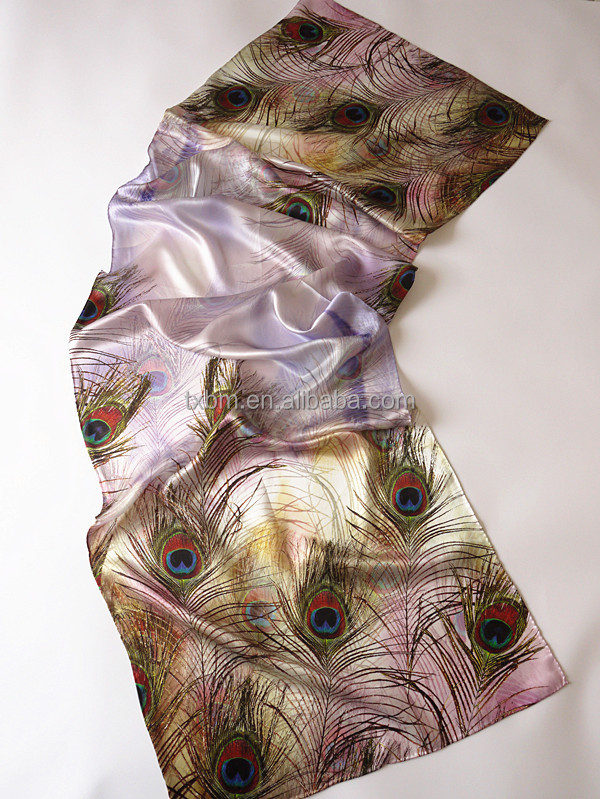 NEW fashion lovely peacock feather pattern Silk scraf