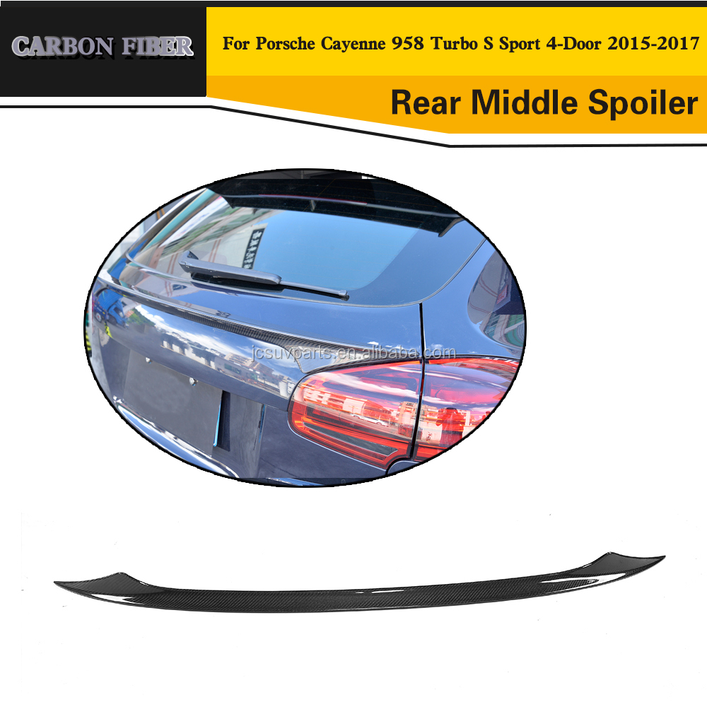Carbon Fiber Rear Bumper Middle Spoiler Wing for Porsche Cayenn e 958 Turbo S Sport 4-Door 2015-2017