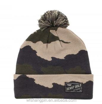 High Quality Custom Jacquard Camouflage Winter Beanie Hat with Pom Poms b586bc9f2a4