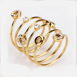 Simple latest gold plated new design ladies finger ring jewelry with yellow trinitite