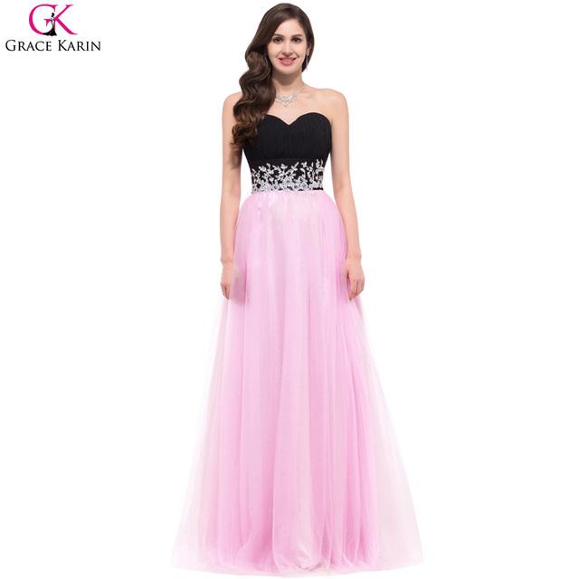96a21bc2f2c Красивые розовые и черный длинные паффи вечернее платье 2016 грейс карин  шифон аппликация .