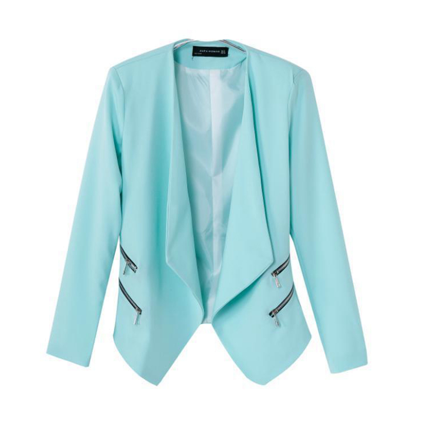 Women Casual Blazer 2015 Autumn Blazers And Jackets Slim Fit Green Fashion Brand Blazers With Zipper S M L High Quality WBL8