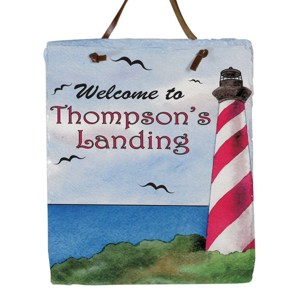"""Personalized Lighthouse Welcome Slate Plaque, 11 H"""" x 9 W"""", Leather Strap for Hanging"""