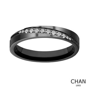 Black Titanium Women's Eternity Wedding Band Ring Cubic Zirconia CZ, Comfort Fit 4mm/6mm