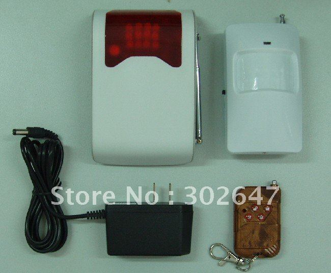 Home automation wireless 315mhz 12v 4-channels sound and light alarm system