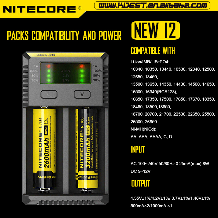 New Vision Nitecore New I2 Faster Discharge 18650 26650 Dual Slots ...