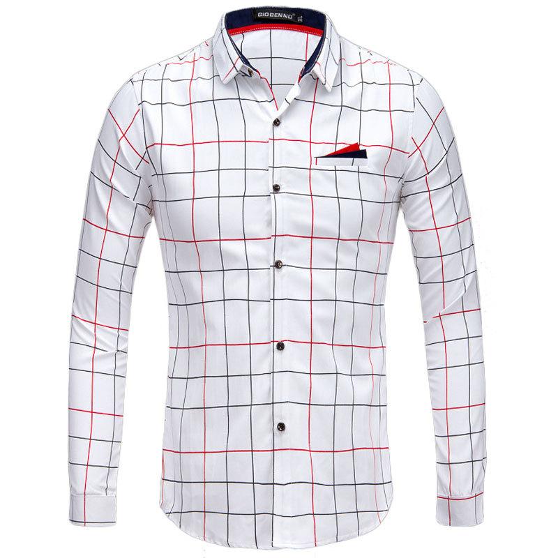 7a928d2e58a0 Get Quotations · New Men Shirt Chemise Homme 2015 Autumn Fashion Design Mens  Slim Fit Long Sleeve Plaid Dress