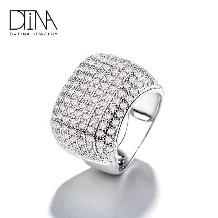 DTINA Elegant Vintage Fashion Crystal Rings Jewelry women ring Luxury Metal Gold and Platinum Plated Zircon Ring