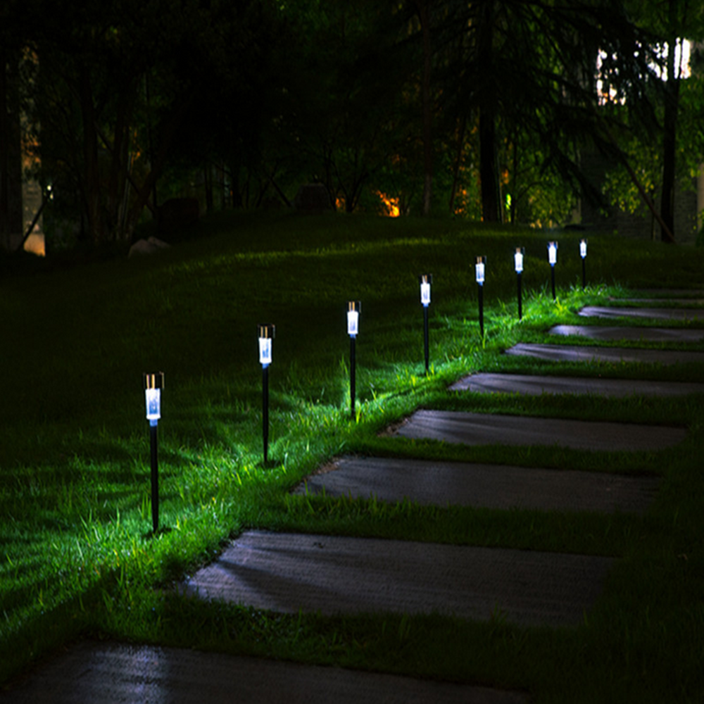 Landscape / Pathway <strong>Lights</strong> Stainless Steel-10 Pack <strong>Outdoor</strong> <strong>LED</strong> Solar Garden <strong>Light</strong>