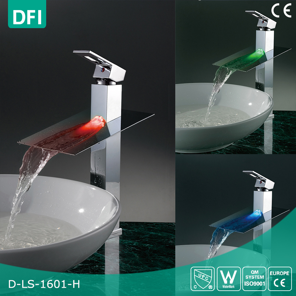 DFI led light Waterfall Brass Wash Basin faucet,Bathroom Faucet Tap