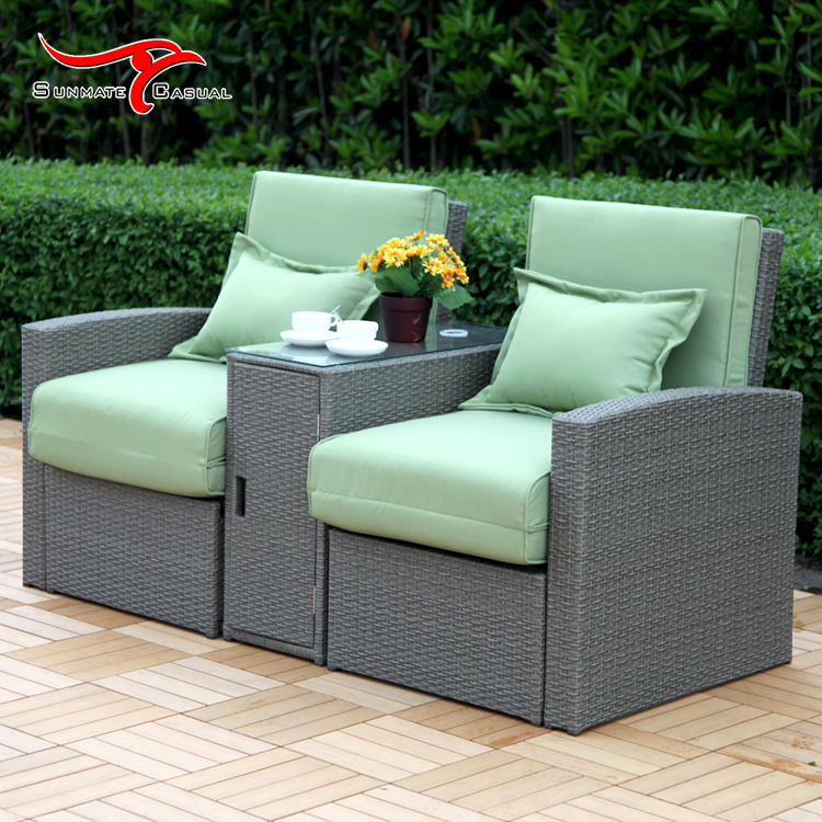 2 Seat Multi-purpose Folding Reclining Garden Furniture Outdoor Rattan Wicker Sofa Bed
