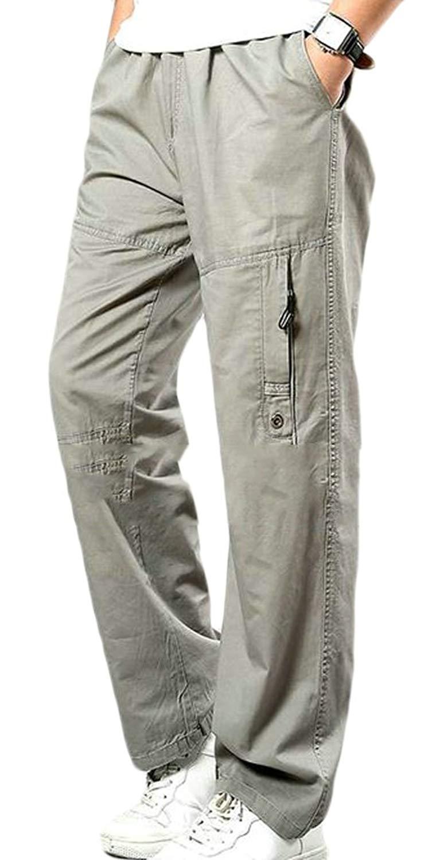 Wofupowga Men Drawstring Solid Color Elastic Waist Work Straight Trousers Pants