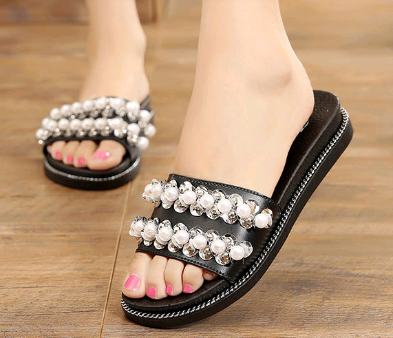 New design flat shoes summer casual pearl lady woman slipper crystal fashion sandals