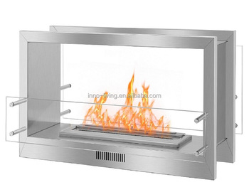 fireplace insert with remote control bio ethanol burner 2 sided