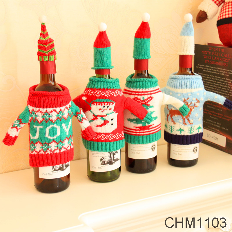 One Set Christmas Decoration Red Wine Bottle Cover Bags Santa Claus Dinner Table Decoration Clothes With Hats Home Party Decors