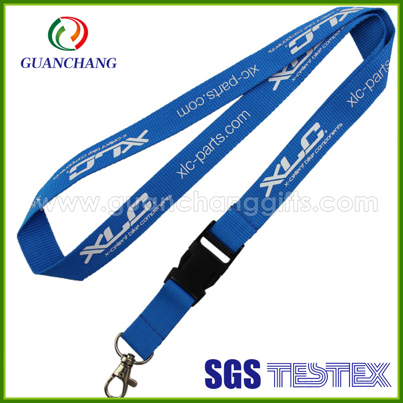 Promotional Gift customized logo silk Screen Printing neck strap lanyard with plastic buckle