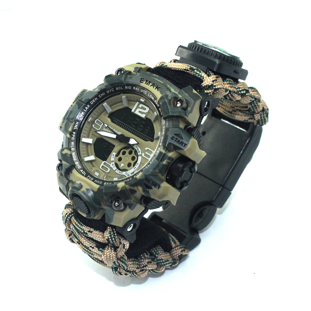 Popular Wholesale military survival outdoor paracord watch with Outdoor Camping, Army green