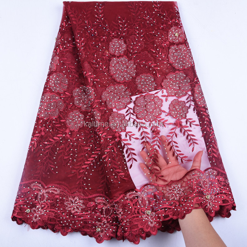 Hot Selling Nigerian Lace Fabric 2019 Popular Onion Color African Style French Lace For Nigerian Women Party Dress  1578