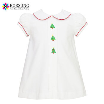 2017 Plain White Xmas Tree Embroidery Kids Clothes Peter Pan Neck