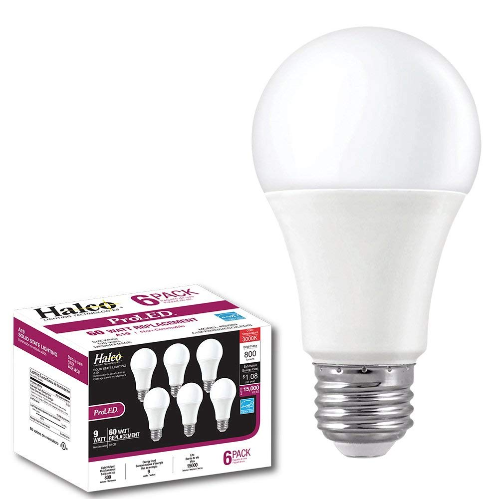 ProLED A19FR9/830/ECO/LED/6 Halco Lighting Eco 6-Pack 9W 3000K Non-Dimmable Contractor Series 6, A19, K, 6 Piece