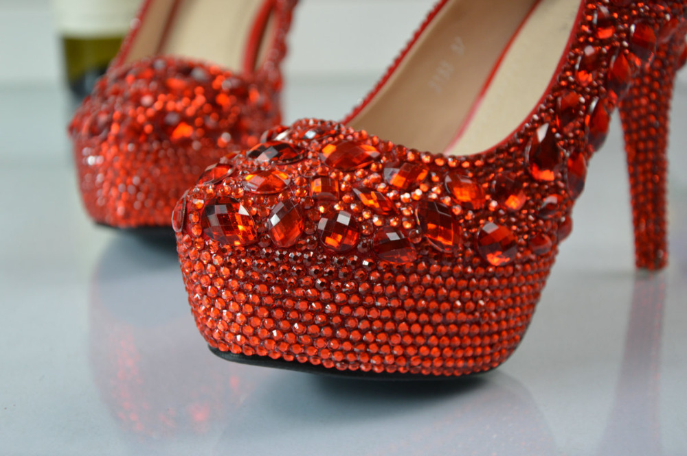 BS028 women's red Prom party Dress shoes Evening high heels crystal Bridal wedding women handmade pumps raq0rB