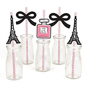 Big Dot of Happiness Paris, Ooh La La - Paris Themed Paper Straw Decor - Baby Shower or Birthday Party Striped Decorative Straws - Set of 24