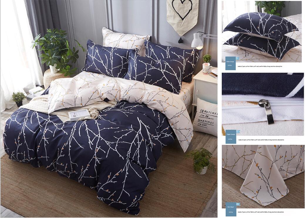 Hochwertiger Reaktivdruck Bettlaken Kissenbezug Bettbezug Weiche bequeme Bettwäscheset