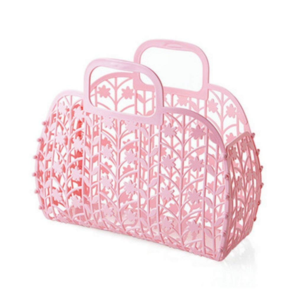 BAMONA Portable Shower Caddy, Foldable Plastic Hollow Sundries Storage Basket Bathroom Toiletries Organizer Basket (Pink)