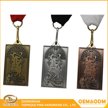 Customized design antique color 3d custom logo dancer rectangle metal ribbon medal