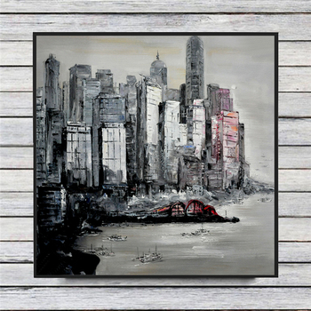 Modern cityscape harbor city Abstract Oil Painting